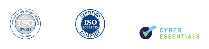 ISO27001 Certification Logo / ISO9001 Certification Logo / Cyber Essentials Certification Logo